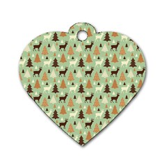 Reindeer Tree Forest Art Dog Tag Heart (one Side) by patternstudio