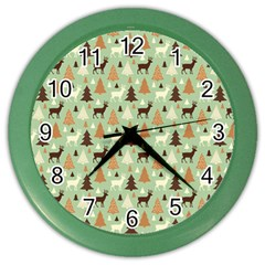 Reindeer Tree Forest Art Color Wall Clocks by patternstudio