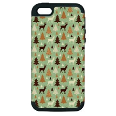 Reindeer Tree Forest Art Apple Iphone 5 Hardshell Case (pc+silicone) by patternstudio