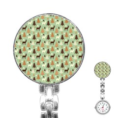 Reindeer Tree Forest Art Stainless Steel Nurses Watch