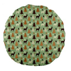 Reindeer Tree Forest Art Large 18  Premium Flano Round Cushions by patternstudio