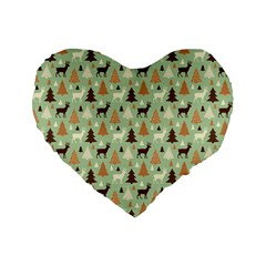 Reindeer Tree Forest Art Standard 16  Premium Flano Heart Shape Cushions by patternstudio