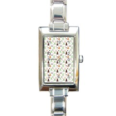 Reindeer Christmas Tree Jungle Art Rectangle Italian Charm Watch by patternstudio