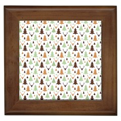 Reindeer Christmas Tree Jungle Art Framed Tiles by patternstudio