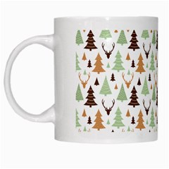 Reindeer Christmas Tree Jungle Art White Mugs by patternstudio