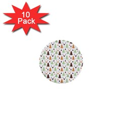 Reindeer Christmas Tree Jungle Art 1  Mini Buttons (10 Pack)