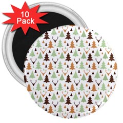 Reindeer Christmas Tree Jungle Art 3  Magnets (10 Pack)