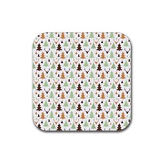 Reindeer Christmas Tree Jungle Art Rubber Square Coaster (4 Pack)  by patternstudio