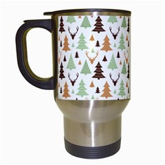 Reindeer Christmas Tree Jungle Art Travel Mugs (white) by patternstudio