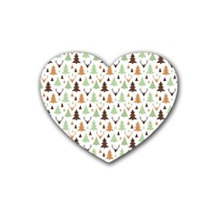 Reindeer Christmas Tree Jungle Art Rubber Coaster (heart)  by patternstudio