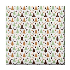 Reindeer Christmas Tree Jungle Art Face Towel by patternstudio
