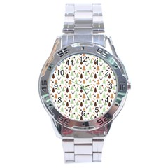 Reindeer Christmas Tree Jungle Art Stainless Steel Analogue Watch by patternstudio