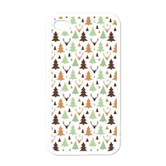 Reindeer Christmas Tree Jungle Art Apple Iphone 4 Case (white) by patternstudio