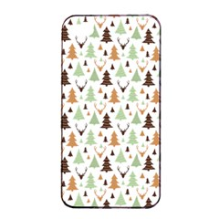 Reindeer Christmas Tree Jungle Art Apple Iphone 4/4s Seamless Case (black) by patternstudio