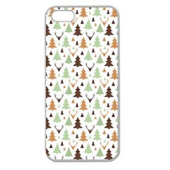 Reindeer Christmas Tree Jungle Art Apple Seamless Iphone 5 Case (clear) by patternstudio