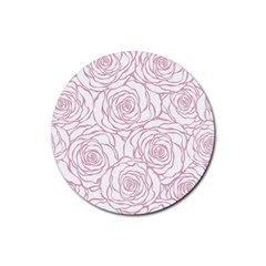 Pink Peonies Rubber Coaster (round)  by 8fugoso