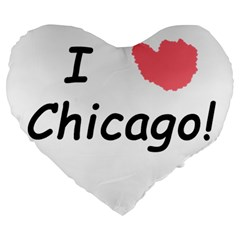 I Heart Chicago  Large 19  Premium Heart Shape Cushions by SeeChicago