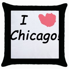 I Heart Chicago  Throw Pillow Case (black) by SeeChicago