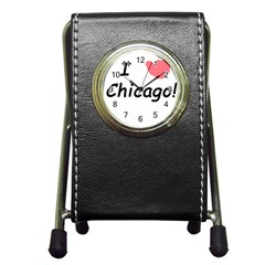 I Heart Chicago  Pen Holder Desk Clocks by SeeChicago