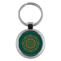 Snow Flower In A Calm Place Of Eternity And Peace Key Chains (round)  by pepitasart