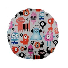 Funky Monsters Pattern Standard 15  Premium Round Cushions