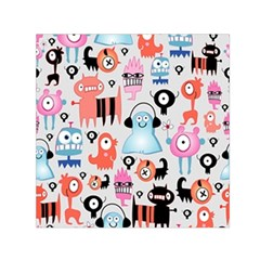 Funky Monsters Pattern Small Satin Scarf (square) by allthingseveryday