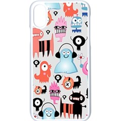 Funky Monsters Pattern Apple Iphone X Seamless Case (white) by allthingseveryday