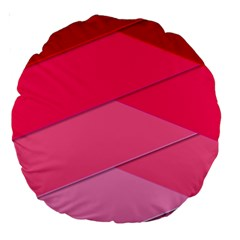 Geometric Shapes Magenta Pink Rose Large 18  Premium Round Cushions by Celenk