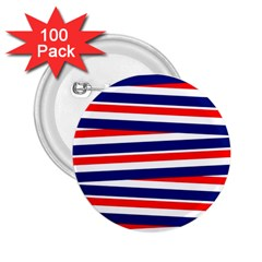 Red White Blue Patriotic Ribbons 2 25  Buttons (100 Pack)
