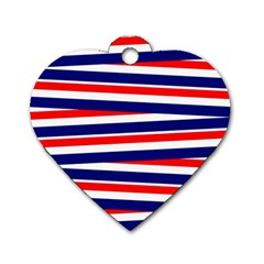 Red White Blue Patriotic Ribbons Dog Tag Heart (one Side)