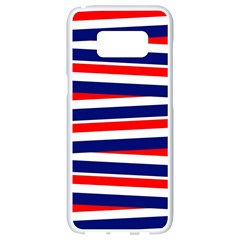 Red White Blue Patriotic Ribbons Samsung Galaxy S8 White Seamless Case by Celenk