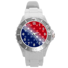 America Patriotic Red White Blue Round Plastic Sport Watch (l) by Celenk