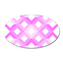 Geometric Chevrons Angles Pink Oval Magnet
