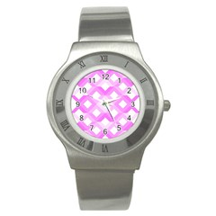 Geometric Chevrons Angles Pink Stainless Steel Watch by Celenk