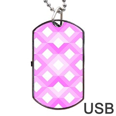 Geometric Chevrons Angles Pink Dog Tag Usb Flash (two Sides) by Celenk