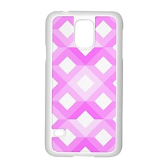 Geometric Chevrons Angles Pink Samsung Galaxy S5 Case (white) by Celenk