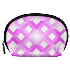 Geometric Chevrons Angles Pink Accessory Pouches (large)  by Celenk