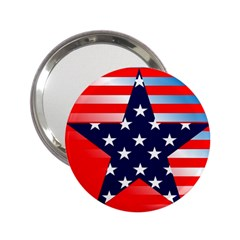 Patriotic American Usa Design Red 2 25  Handbag Mirrors