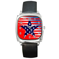 Patriotic American Usa Design Red Square Metal Watch
