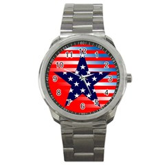 Patriotic American Usa Design Red Sport Metal Watch by Celenk