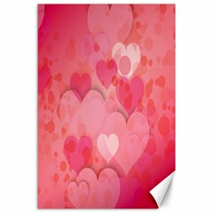 Pink Hearts Pattern Canvas 24  X 36  by Celenk