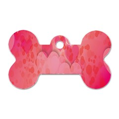 Pink Hearts Pattern Dog Tag Bone (one Side)