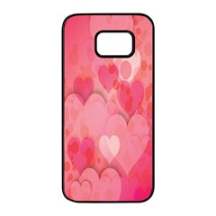 Pink Hearts Pattern Samsung Galaxy S7 Edge Black Seamless Case