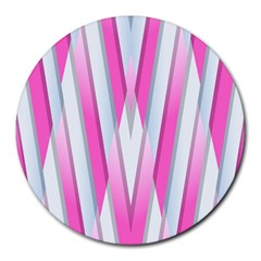 Geometric 3d Design Pattern Pink Round Mousepads by Celenk