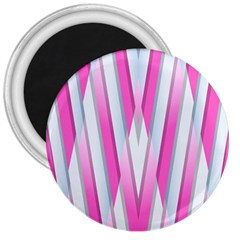Geometric 3d Design Pattern Pink 3  Magnets by Celenk