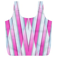 Geometric 3d Design Pattern Pink Full Print Recycle Bags (l)  by Celenk