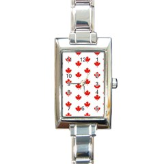 Maple Leaf Canada Emblem Country Rectangle Italian Charm Watch by Celenk