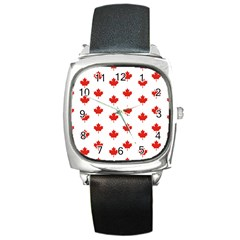 Maple Leaf Canada Emblem Country Square Metal Watch by Celenk