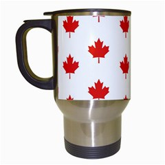 Maple Leaf Canada Emblem Country Travel Mugs (white) by Celenk