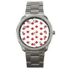 Maple Leaf Canada Emblem Country Sport Metal Watch by Celenk